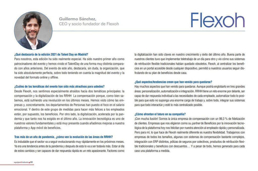 Entrevista a Guillermo Sánchez, CEO de Flexoh, en Equipos y Talento